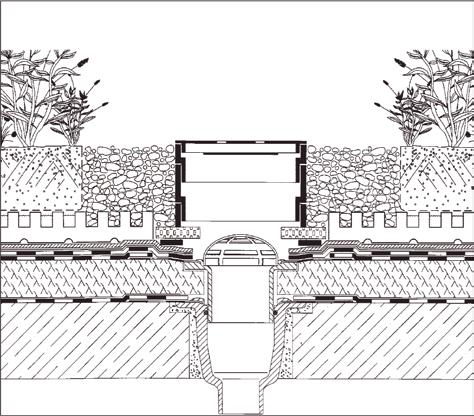 Rys. 2. Wpust dachowy przy zazielenieniu intensywnym umożliwiający utrzymywanie założonego poziomu wody w warstwie drenującej (rys. Bauder)