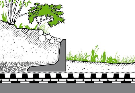 Rys. 5. W przypadku znacznego zróżnicowania poziomów roślinności  konieczne jest stosowanie dodatkowych żelbetowych ścianek oporowych (rys. ZinCo)