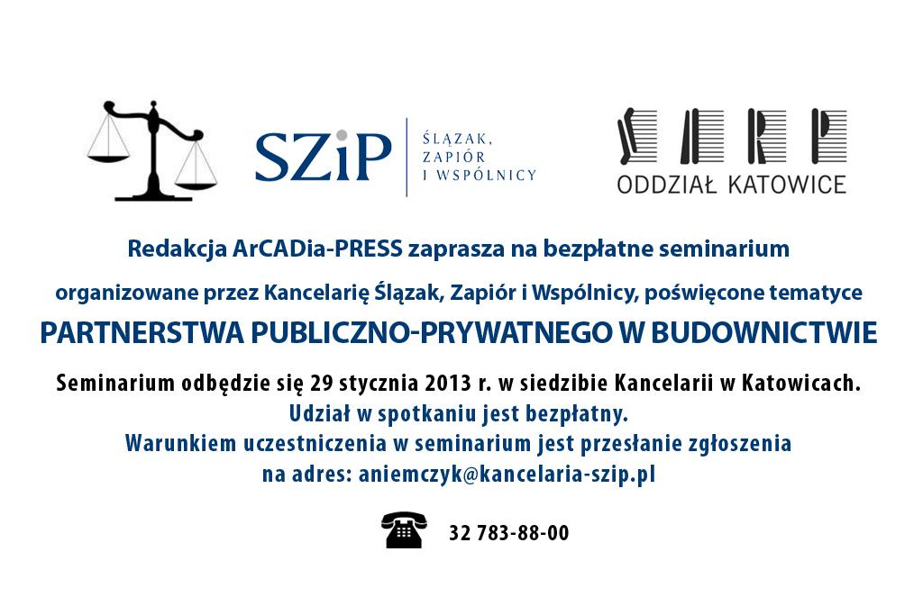 """Seminarium """"Partnerstwo Publiczno – Prywatne w budownictwie""""."""