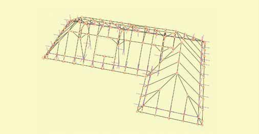 Rys.1 Przestrzenny podrys kształtu dachu z systemu ArCADia i wybudowany na jego podstawie model konstrukcji dachu