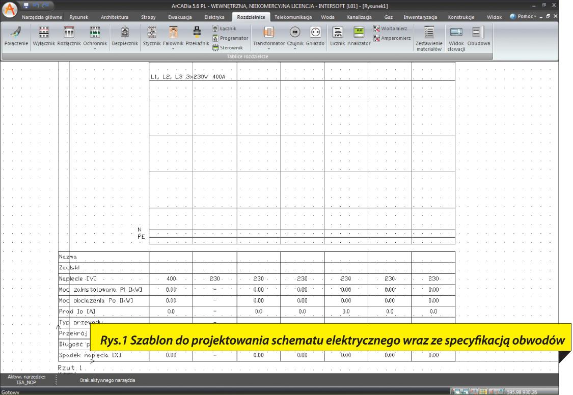 Rys.1 Szablon do projektowania schematu elektrycznego wraz ze specyfikacją obwodów.