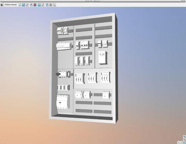 Rys.10 Wygenerowany widok tablicy rozdzielczej w 3D.